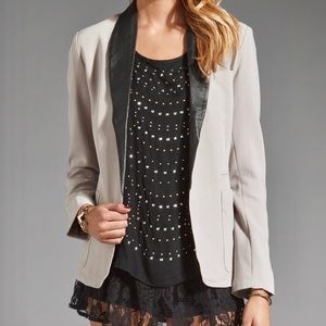 BB Dakota Grey Blazer with 100% Leather Lapels